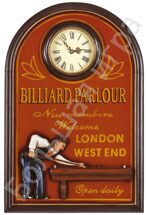 "Картина 3D ""BILLIARD PARLOUR LONDON WEST"" с часиками"